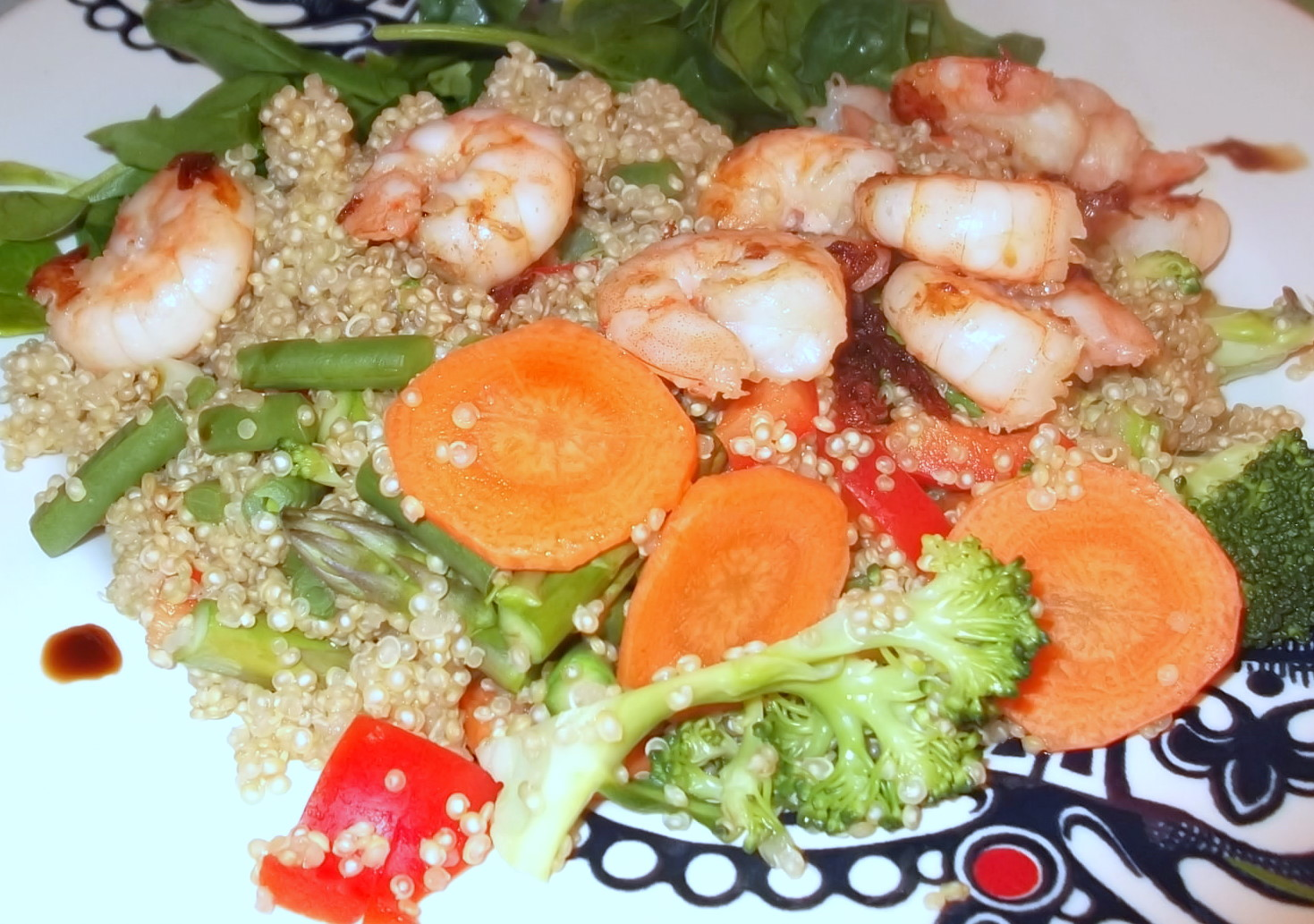 Quinoa Tabouleh with prawns