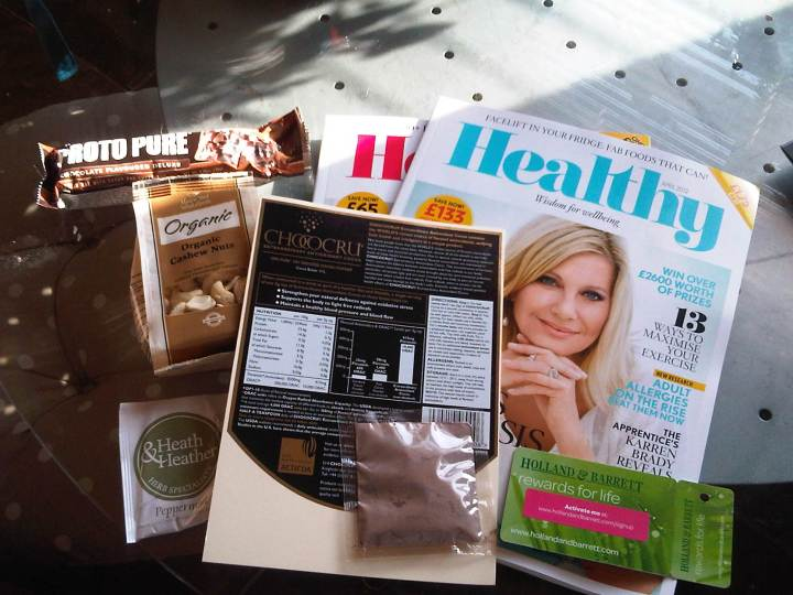 Healthy magazine goodie bag