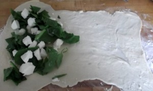 spinach and feta on gozleme