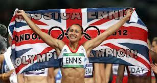 Jessica Ennis wins the Heptathlon Gold Medal