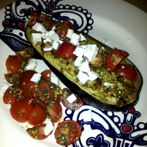 Honestly healthy grilled aubergine